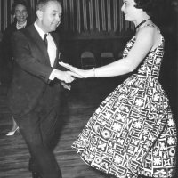 05/63 - District 4C-4 Convention, Hoberg's Resort, Lake County - Estelle Bottarini enjoying a dance during her birthday celebration at the convention. Her birthday was May 26th.