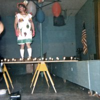05/68 - District 4C-4 Convention, Hoberg's Resort, Lake County - Tail Twister Contest - Lion Ron Faina strutting it.