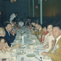 05/68 - District 4C-4 Convention, Hoberg's Resort, Lake County - Dinner time; around table from closest: daughter (?), wife, member, Linnie Faina, wife, member, Lion Art and Maryann Blum, Pat and Lion Frank Ferrera, Estelle and Lion Charlie Bottarini, Lion Pete and Eva Bello, Lion Bob and Pauline Woodall, wife, and member.