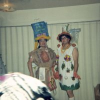 05/68 - District 4C-4 Convention, Hoberg's Resort, Lake County - Tail Twister Contest - Lions Frank Ferrera, left, and Ron Faina backstage before the skit.