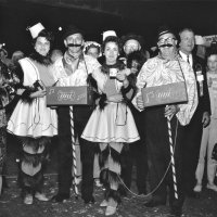 05/68 - District 4C-4 Convention, Hoberg's Resort, Lake County - Costume Parade - Estelle and Lion Charlie Bottarini and Eva and Lion Pete Bello strike a pose after the parade surrounded by Lions and members of other clubs.