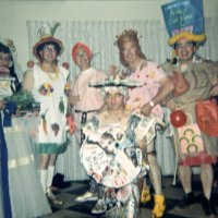 05/68 - District 4C-4 Convention, Hoberg's Resort, Lake County - Tail Twister Contest - Standing, L to R: Lions Al Kleinbach, Ron Faina, Bob Woodall, Pete Bello, and Frank Ferrera. Kneeling is Lion Charlie Bottarini- all dressed and ready for the skit.