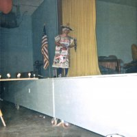 05/68 - District 4C-4 Convention, Hoberg's Resort, Lake County - Tail Twister Contest - Lion Charlie Bottarini showing off his stuff during the skit.