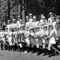 May 1969 - District 4-C4 Convention @ Hoberg's Resort - Costume Parade Pose - Front row: Pauline Woodall, Maryann Blum, Eva Bello, Emily Farrah, Emma Giuffre, Margerie Martin, Linnie Faina, Harriet Kleinbach, Irene Tonelli, Pat Ferrera, and Penny Shortz. Middle row: Lions Bob Woodall, Ron Faina, Joe Farrah, Art Blum, Pat Martin, Frank Ferrera, and Sam Shortz. Back row: Lions Bill Tonelli, Joe Giuffre, Al Kleinbach, and Pete Bello.