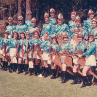 May 1969 - District 4-C4 Convention @ Hoberg's Resort - Costume Parade Pose - Front row: Pauline Woodall, Maryann Blum, Eva Bello, Emily Farrah, Emma Giuffre, Margerie Martin, Linnie Faina, Harriet Kleinbach, Irene Tonelli, Pat Ferrera, and Penny Shortz. Middle row: Bob Woodall, Ron Faina, Joe Farrah, Art Blum, Pat Martin, Frank Ferrera, and Sam Shortz. Back row: Bill Tonelli, Joe Giuffre, Al Kleinbach, and Pete Bello.