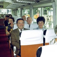 July 1969 - Lions Clubs International Convention, Tokyo, Japan - Members from around the world on their way to the convention. Back left in sun glasses is Joe Giuffre, and center in brown plaid coat is Frank & Pat Ferrera.