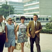 July 1969 - Lions Clubs International Convention, Tokyo, Japan - L to R: Joe & Emma Giuffre, with Pat & Frank Ferrera arriving at the convention.