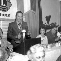 July 1970 to June 71 - Lion Charlie Bottarini's year as Deputy District Governor - Lion Charlie, speaking, and Estelle Bottarini at a District function.