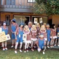 5/12/84 - District 4-C4 Convention, El Rancho Tropicana, Santa Rosa - Costume Parade - L to R: back row: Lorraine & Ed Morey, Handford Clews, Frank & Pat Ferrera, Irene & Bill Tonelli, Jean & Les Doran, and unsure; front row: Sam San Filippo, and unsure of the rest.