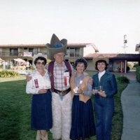 5/9/84 - District 4-C4 Convention, El Rancho Tropicana, Santa Rosa - Wednesday evening's Western Barbecue - L to R: Estelle Bottarini, Howard Pearson, Eva Bello, and Margot Clews.