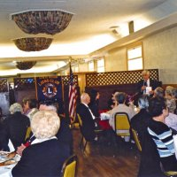 3/19/05 - Ladies Luncheon honoring our late Lions, Italian American Social Club - Members and guest listening to Lion Galdo Pavini (standing). Lion Ed Damonte is on the left, finger on lip.