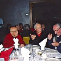 "11/27/05 - 27th Annual Giulio Francesconi Charity Raffle Drawing at the Italian American Social Club - L. to R.: Blanche Fregosi, guest, Lion Al Fregosi, guest, ""Dutch"" Blanchard (formerly at the Moscow Street fire station), and another guest enjoying the festivities."