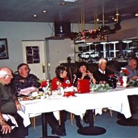 12/7/05 - Club Christmas Party at the Sharp Park Golf Course Restaurant, Pacifica - Lion Bob Menicucci, Lion Handford Clews, LaVerne Cheso, Margo Clews, Lion Al Gentile, Lion Bill Graziano, and Lion Ted Wildenradt enjoying dinner.