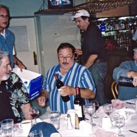 8/17/05 - Sharp Park Golf Course, Pacifica - The party is just getting started. Standing Lions Dick Johnson and Bob Fenech (chairman); seated: guest golfer, and Lions George Salet and Jerry Lowe.
