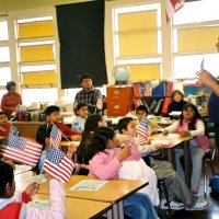 2/17/06 - Flag Day Program at Mission Educational Center for 211 students - Lion Aaron Straus talking to students about the meaning of the flag and its history.