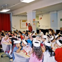 11/22/05 - Mission Educational Center, San Francisco - All the students patiently waiting for their lunch to be served.