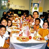 11/22/05 - Mission Educational Center, San Francisco - Students and teacher pose before eating their lunch.