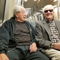 12/26/17 - on BART - Lions Joe Farrah and Al Gentile on their way to downtown San Francisco to have lunch with their daughters Terry and Roxanne at the Palace Hotel. Lion Joe reported he was slightly disappointed with the format of the lunch. Otherwise, everything was great.