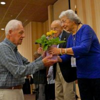 5/5/18 - District 4-C4 Convention, Redding - Lion Ward Donnelly accepting plant in honor of Lion May Wong from Lions George and Helen Habeeb.