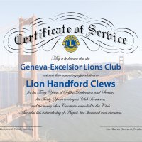 8/16/17 - 68th Installation of Officers, Sharp Park Restaurant, Pacifica; Honoring Lion Handford Clews for 40 Years of Service and 30 years as Club Treasurer - Certificate presented to Lion Handford Clews.