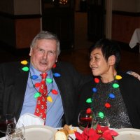 12/20/17 - Geneva-Excelsior Lions Christmas Party, Basque Cultural Center - Lion Bob Fenech with Leona Wong.