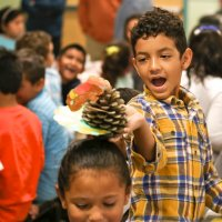 11/16/17 - Serving Thanksgiving Luncheon, Mission Educational Center - One of the immigrant students at Mission Education Center plays with a pinecone turkey while waiting for lunch to be served at their first Thanksgiving. (Mira Laing/Special to S.F. Examiner)