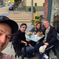 3/18/19 - Lion Steve Martin  (on right) chillaxing with friends somewhere in San Francisco.