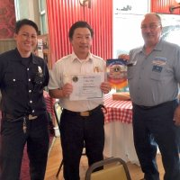 8/15/18 - Italian American Social Club - SFFD Firefighter Maiko Bristol and Battalion Chief Sam Lai being presented a Certificate of Appreciation and club banner by Lion President George Salet following Chief Sam's presentation to the club.