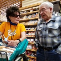 4/24/19 - Lions Emily Palmer and Joe Farrah catching up after running into each other at Lunardi's Supermarket. From Terry Farrah.