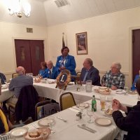 10/17/18 - District Governor's Visitation, Italian American Social Club - L to R outside of table: Lions Al Gentile, Zone Chair Jessie Peoples, Regional Chair Richard Loewen, District Governor Lydia Taylor-Bellinger, President George Salet, Secretary Joe Farrah, 1st Vice District Governor Helen Ariz Casaclang, and Sharon Eberhardt. Inside table: Lion Bill Graziano (gray shirt), and visiting Lion Hernaldo Martinez from Pedregal, Panama (in vest.) Lion District Governor Lydia giving her remarks which she kept short and sweet.