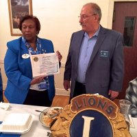 10/17/18 - District Governor's Visitation, Italian American Social Club - L to R: Lion District Governor Lydia Taylor-Bellinger and President George Salet. Lion George is presenting the District Governor with a certificate of appreciation for visiting and keeping us up-to-date on the District.