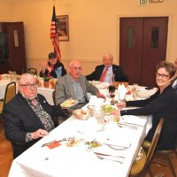 06/20/18 - 69th Installation of Officers, Italian American Social Club, San Francisco - Far left and Head Table: Lions Al Gentile, Lion President Sharon Eberhardt, and Joe Farrah. Near table, left: Lions Bob Lawhon and Bill Graziano. Near table right: Kathy and Lion George Salet, incoming President.