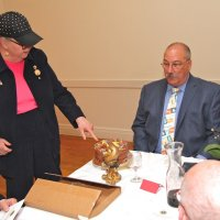 06/20/18 - 69th Installation of Officers, Italian American Social Club, San Francisco - Outgoing Lion President Sharon Eberhardt letting newly installed Lion President George Salet that the cake is all about him.