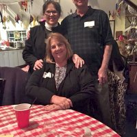 2/24/18 - 33rd Annual Crab Feed - Guests enjoying themselves during the crab dinner. Linda Workman (back left) next to brother Rick Wright and his wife Kate.