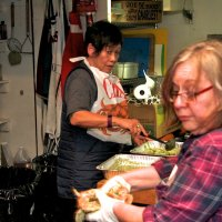 2/24/18 - 33rd Annual Crab Feed - Leona Wong and Lion Viela du Pont working on the pasta pesto.