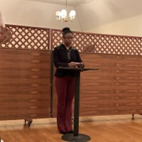 1/15/20 - Student Speaker Contest at the I.A.S.C - Student Xiomara Larkin delivering her speach during the contest.