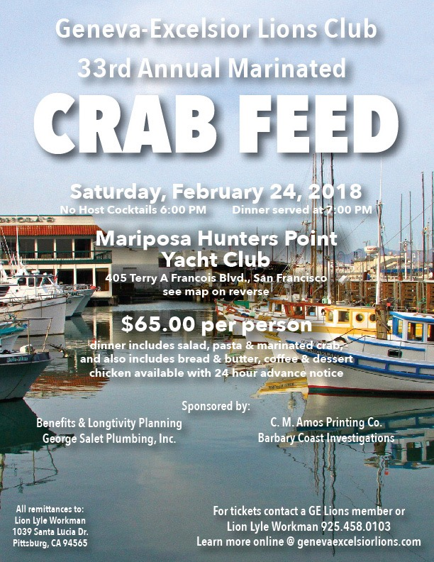 2018 Crab Feed Flyer